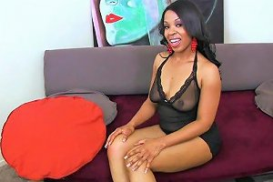 A Long White Cock Fills Aryana Adin's Black Pussy Up